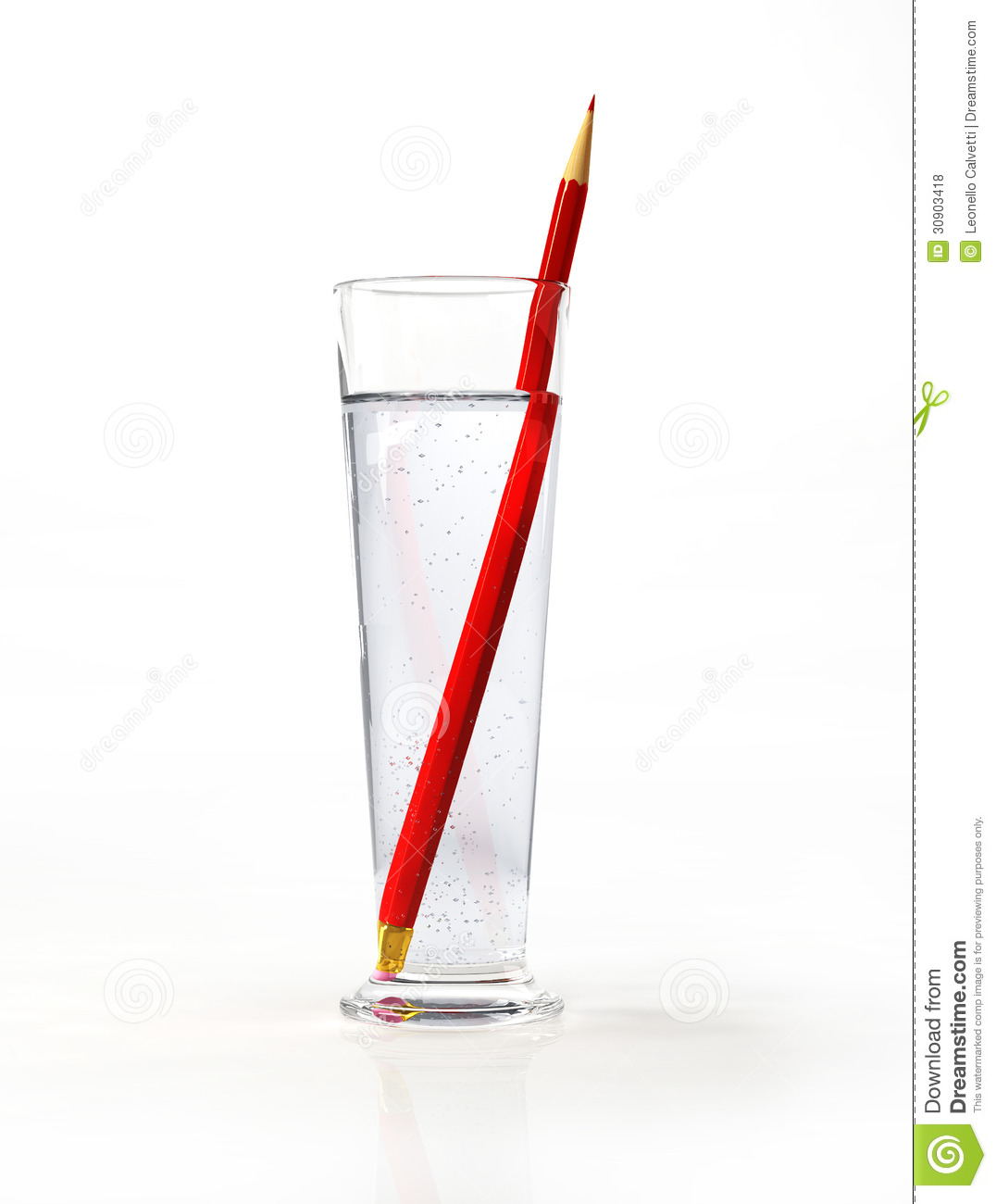 Tall glass of water, with a red pencil inside. On white surface and ...