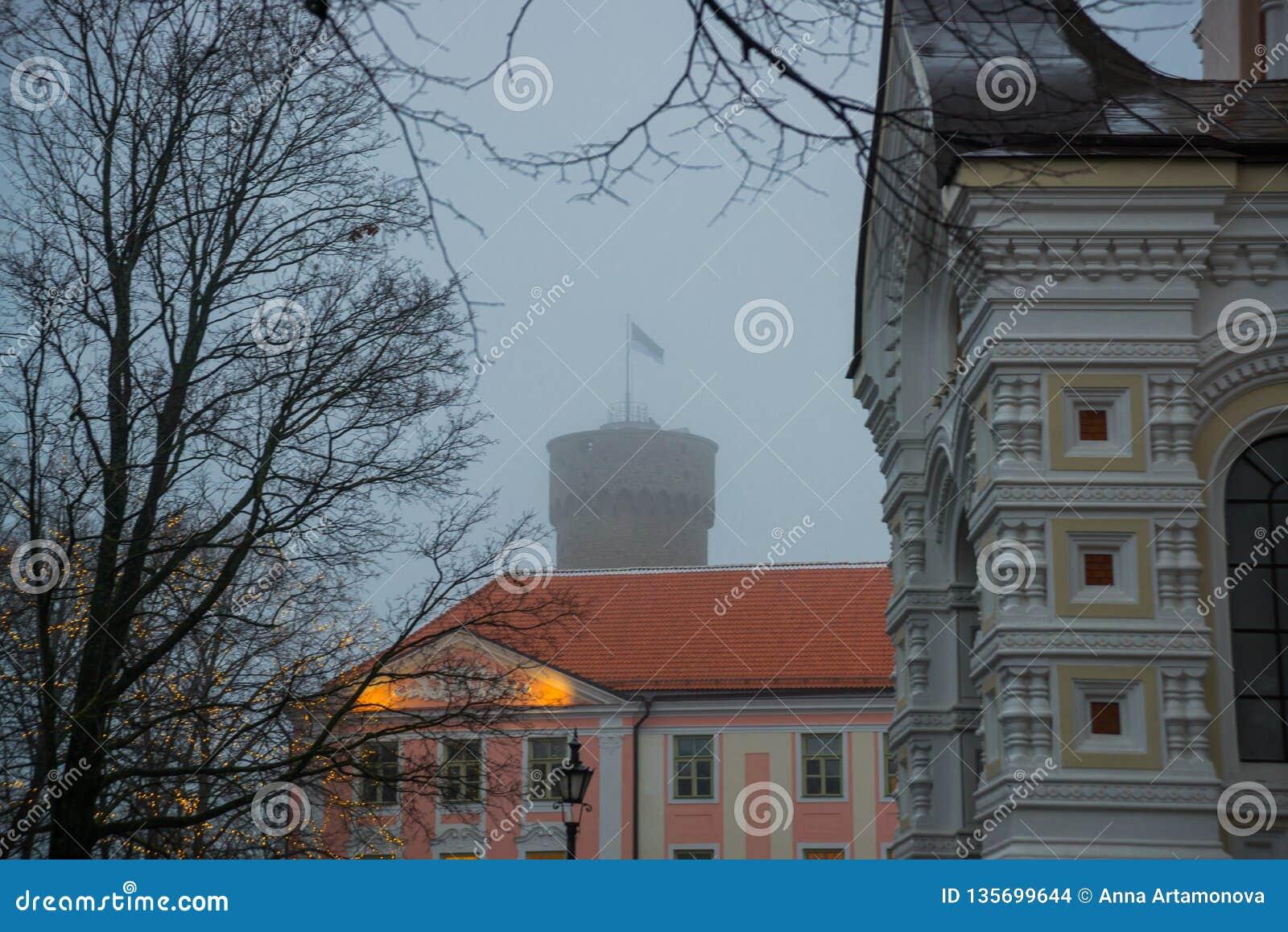 Tall Hermann tower and Parliament building. Toompea, Governors garden, Tallinn, Estonia