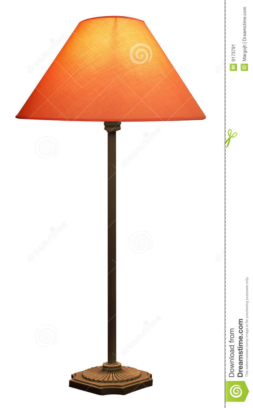 Tall Lamp With Orange Shade Stock Image Image 9173791