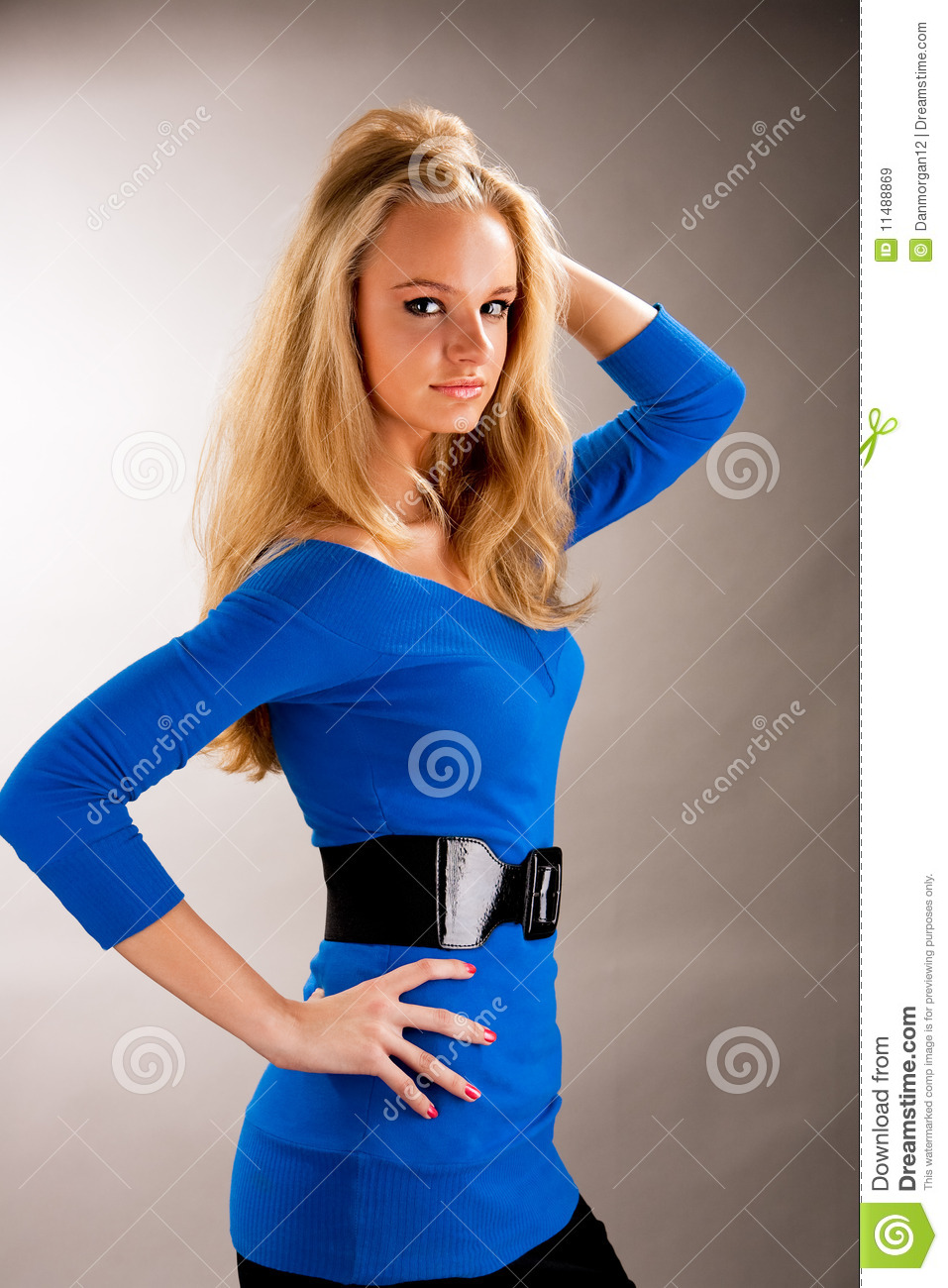 Tall Nice Young Blonde Girl With Lifted Arm Stock Image Image 11488869
