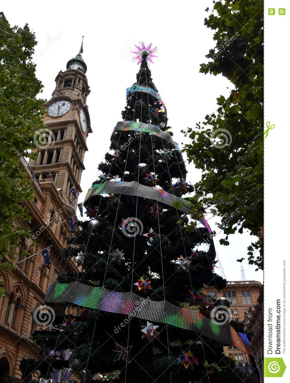Tall outdoor christmas tree with decoration stock photo for Australia christmas decoration