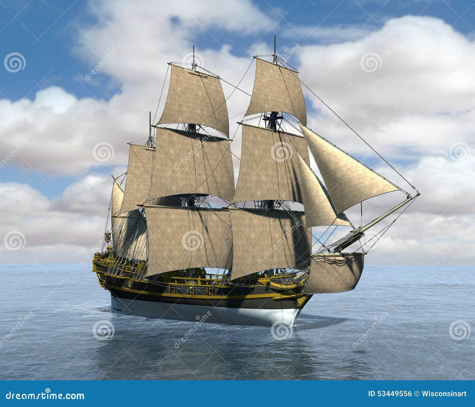 Vintage tall sailing ship at sea illustration. The boat has full sails ...