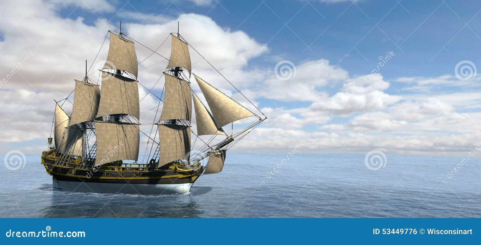 Tall Sailing Ship Banner Panorama Stock Illustration - Image: 53449776