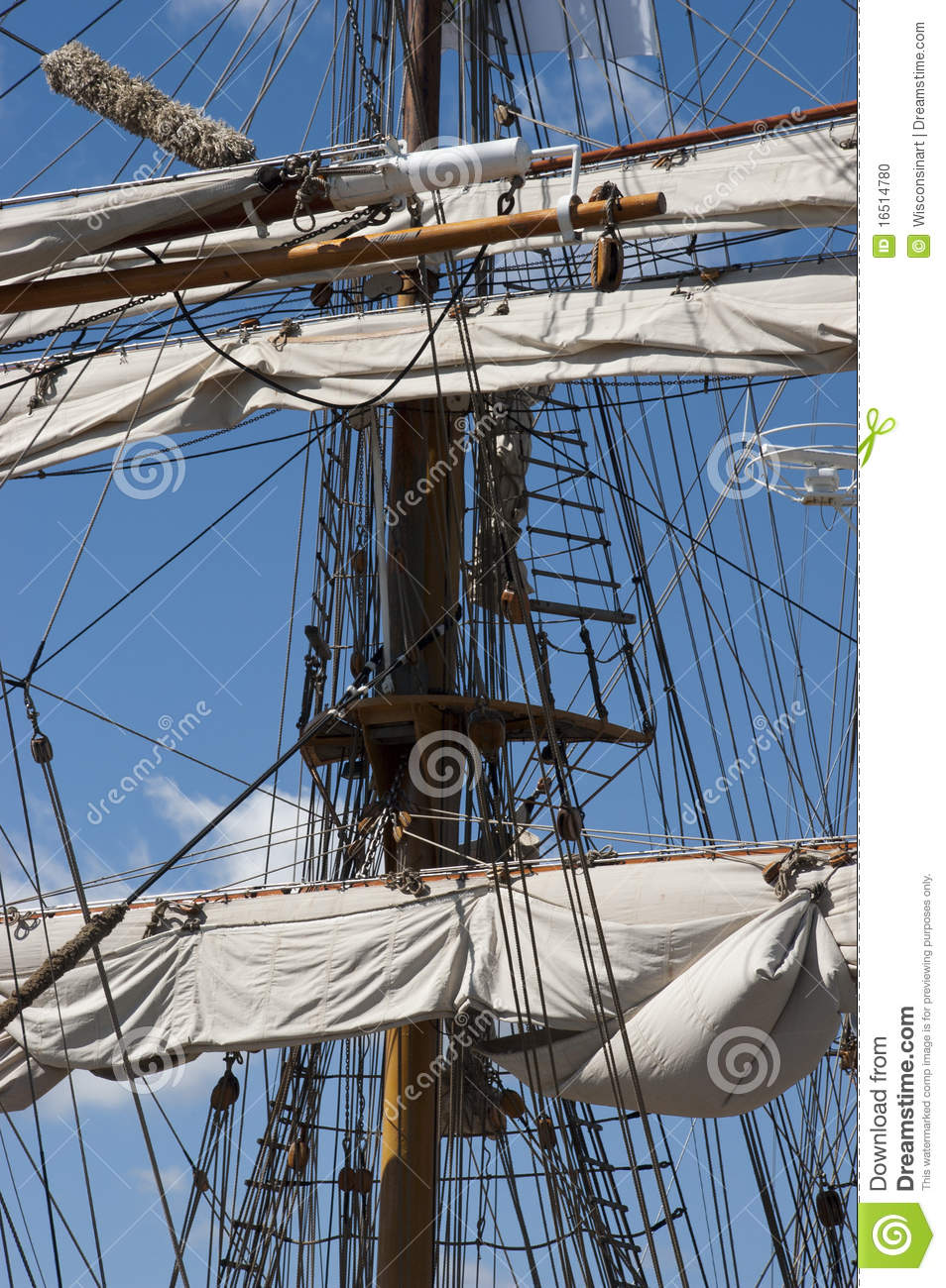 Tall Sailing Ship, Closeup Detail of Mast, Sails