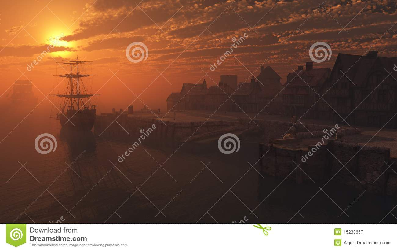Tall Ship on the Moorings at Sunset