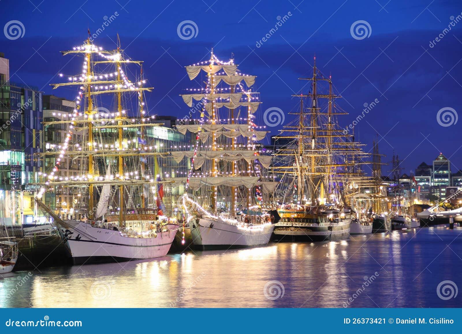 Tall Ships moored at the Liffey, Dublin