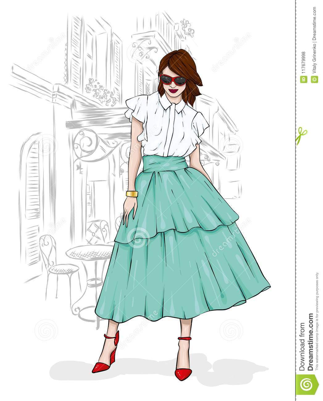 A Tall Slender Girl In A Midi Skirt A Blouse High Heeled Shoes And A Clutch Vector Illustration Clothing And Accessories Stock Vector Illustration Of Postcard People 117679998