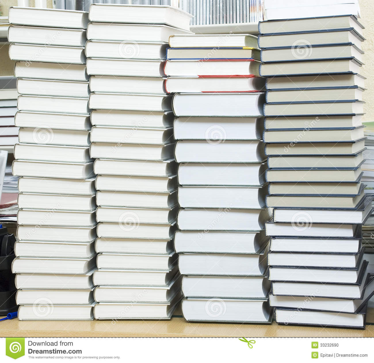 Tall Stack Of Books Stock Photo - Image: 33232690