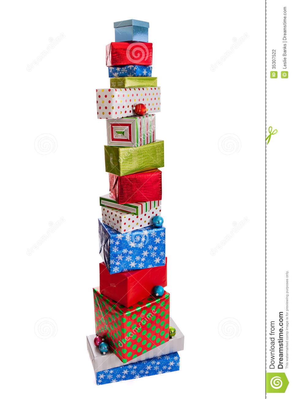 Tall Stack Of Christmas Presents Isolated On White Stock ...