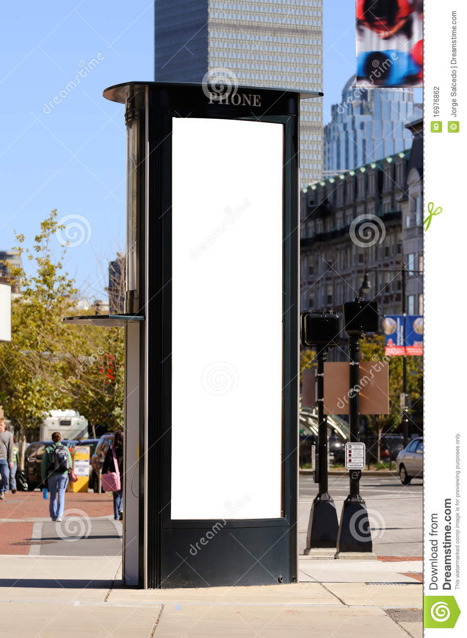 Tall, vertical billboard on phone booth
