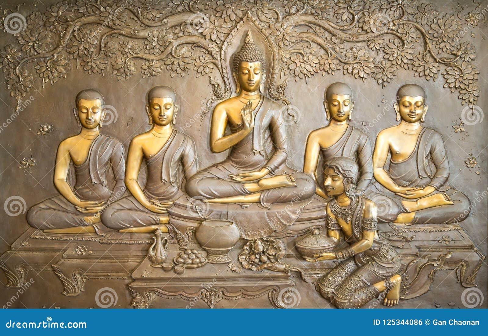Talla de madera de Buda Las pinturas murales cuentan la historia sobre la historia del ` s de Buda