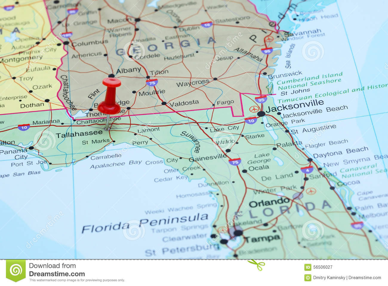 Tallahassee Pinned On A Map Of USA Stock Image - Image of pushpin ...