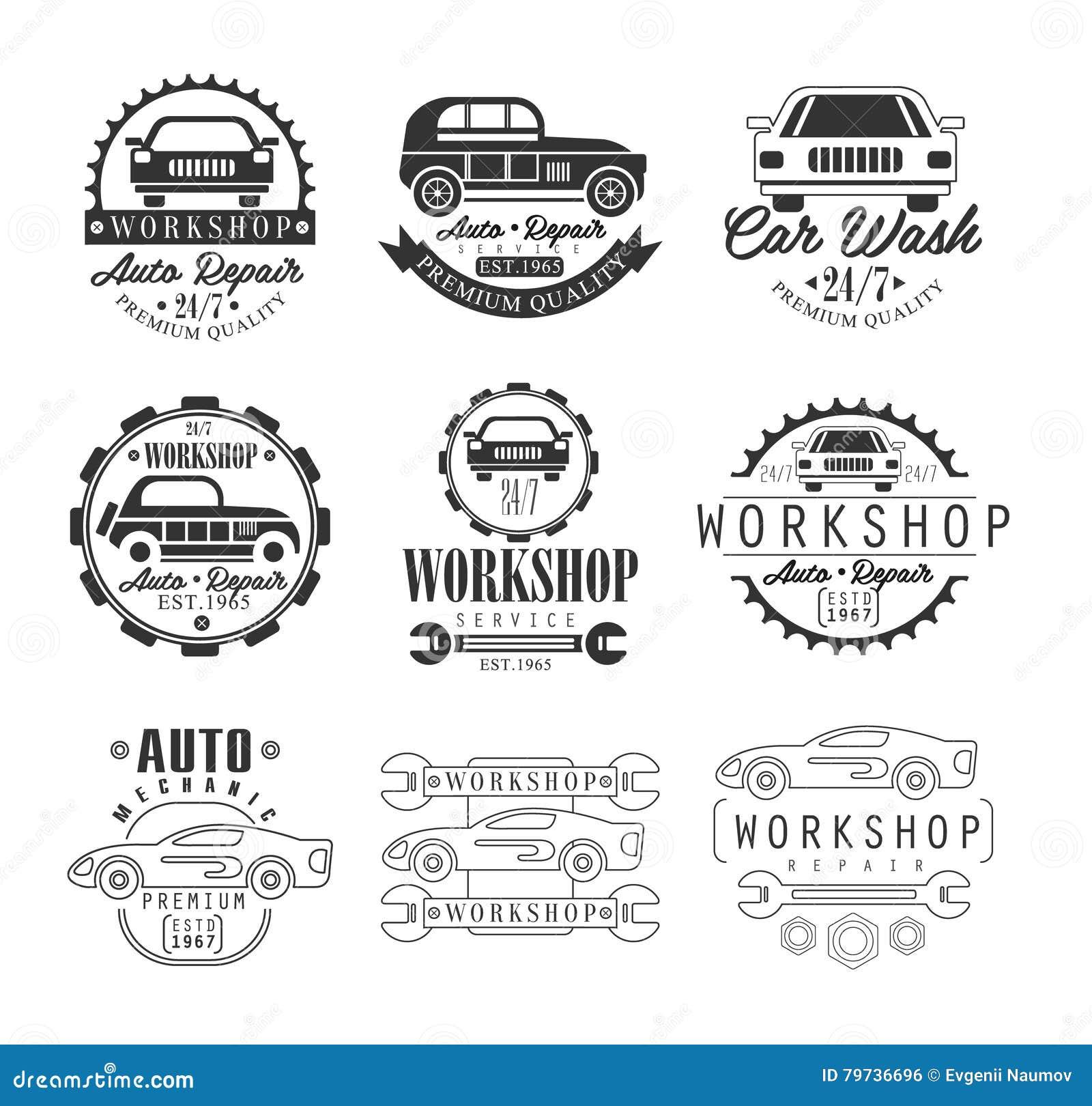 Taller de la reparación del coche Fondo monocromático del blanco de Logo Set With Text On del diseño gráfico del vector clásico d