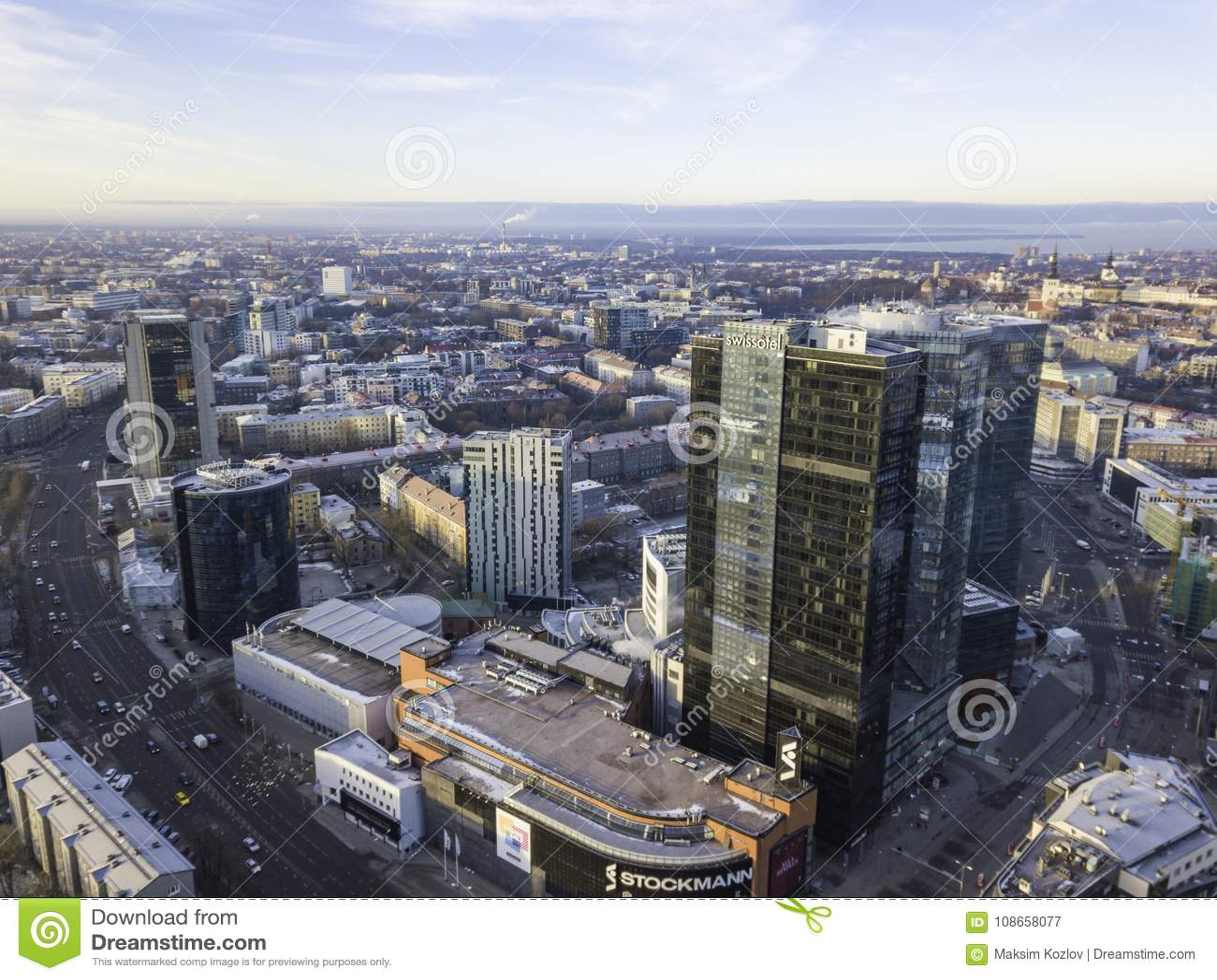 TALLINN, ESTONIA - 01, 2018 Aerial cityscape of modern business