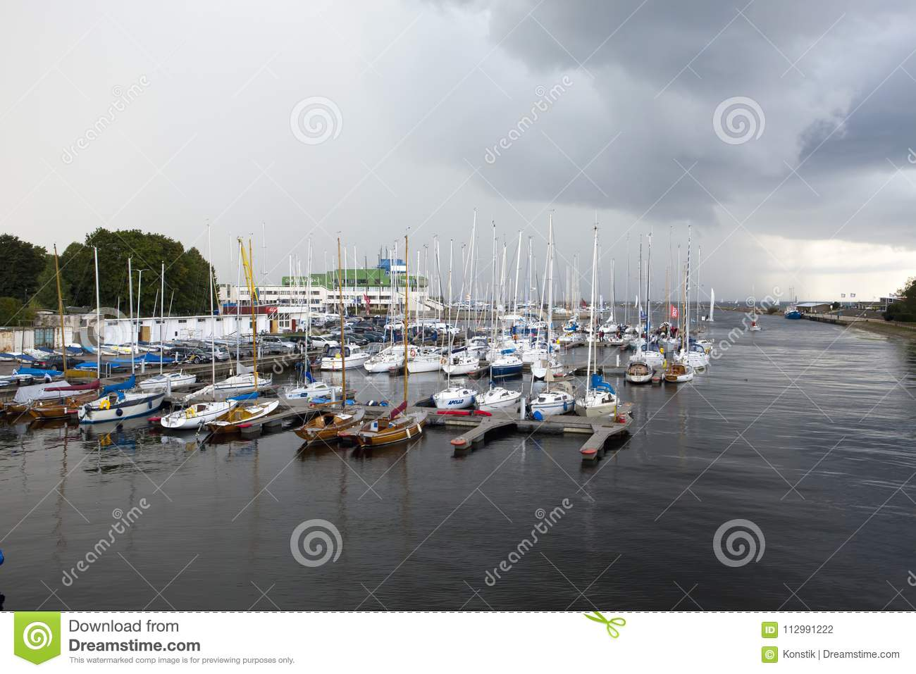 TALLINN, ESTONIA- SEPTEMBER 7, 2015: Parking of small size vessels, yachts in the Tallinn Pirita Harbour and Kalev Yacht Club, the