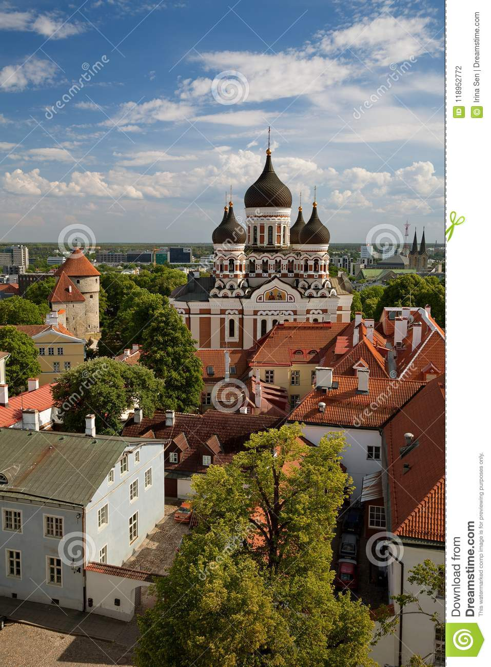 TALLINN, ESTONIA - View from the Bell tower of Dome Church / St. Mary`s Cathedral, Toompea hill at The Old Town and Russian Orthod