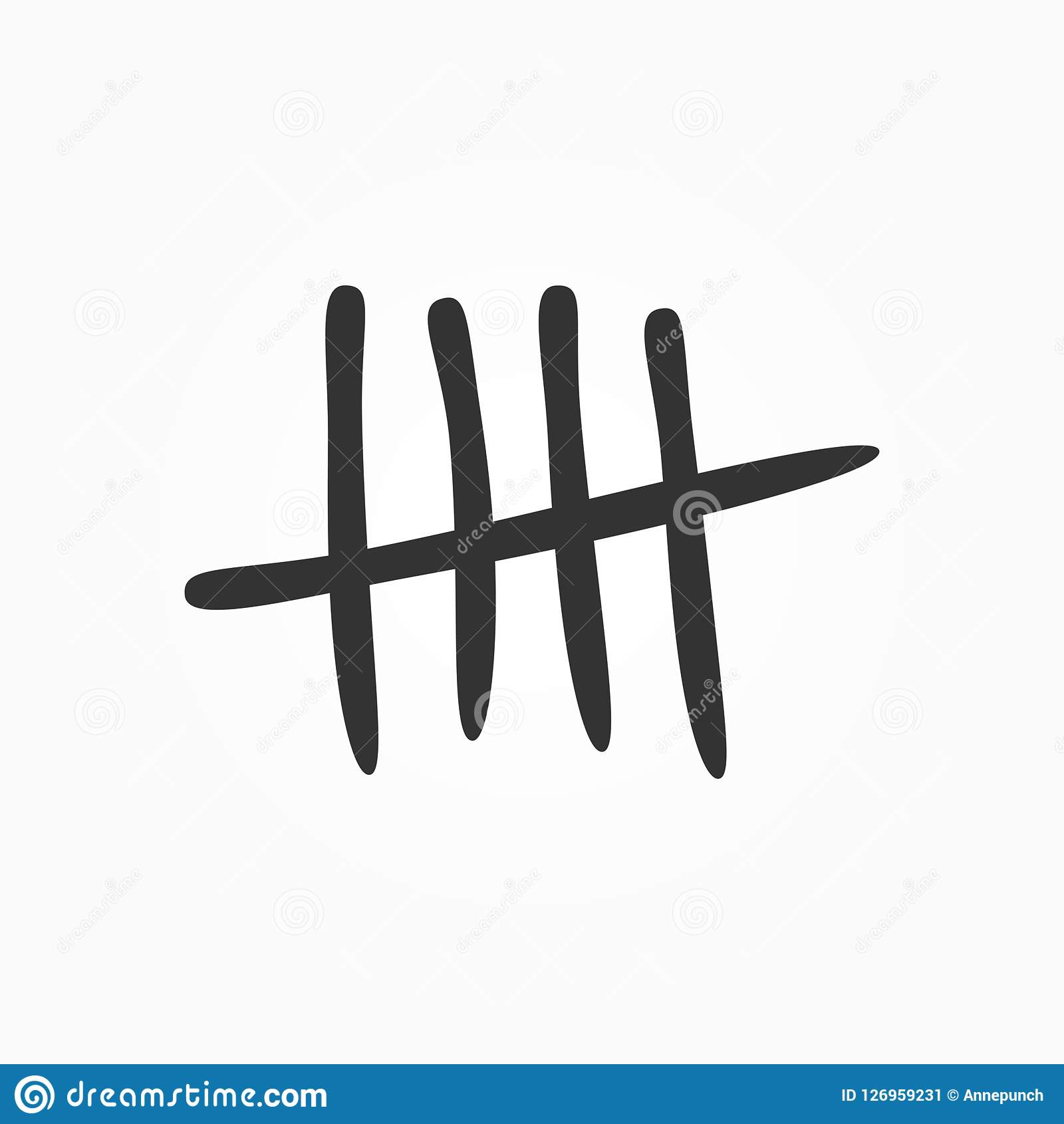 Tally marks drawn by hand. Isolated sketch icon, sign, symbol.