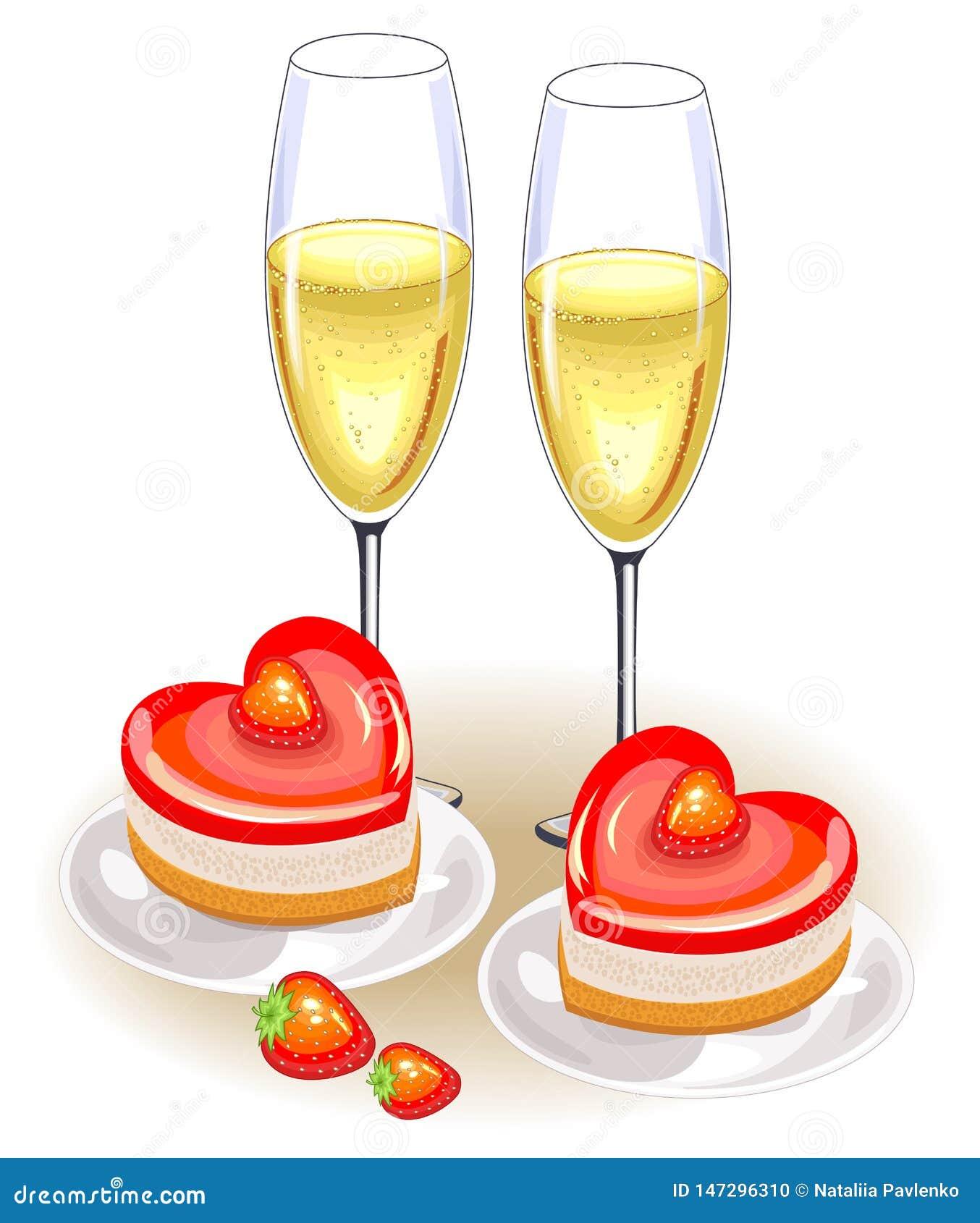 Tam są dwa szkła szampan na świątecznym stole Romantyczny tort w formie serca Stosowny dla kochank?w na walentynce s