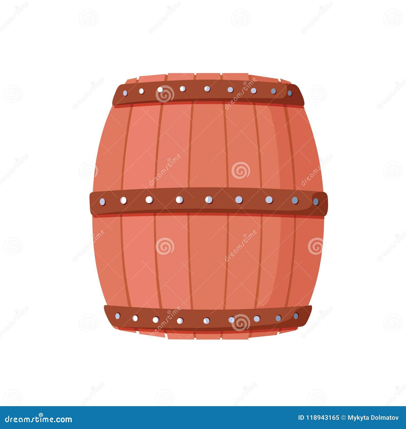 Tambor do álcool, recipiente de bebida, ícone de madeira do barril isolado no whi