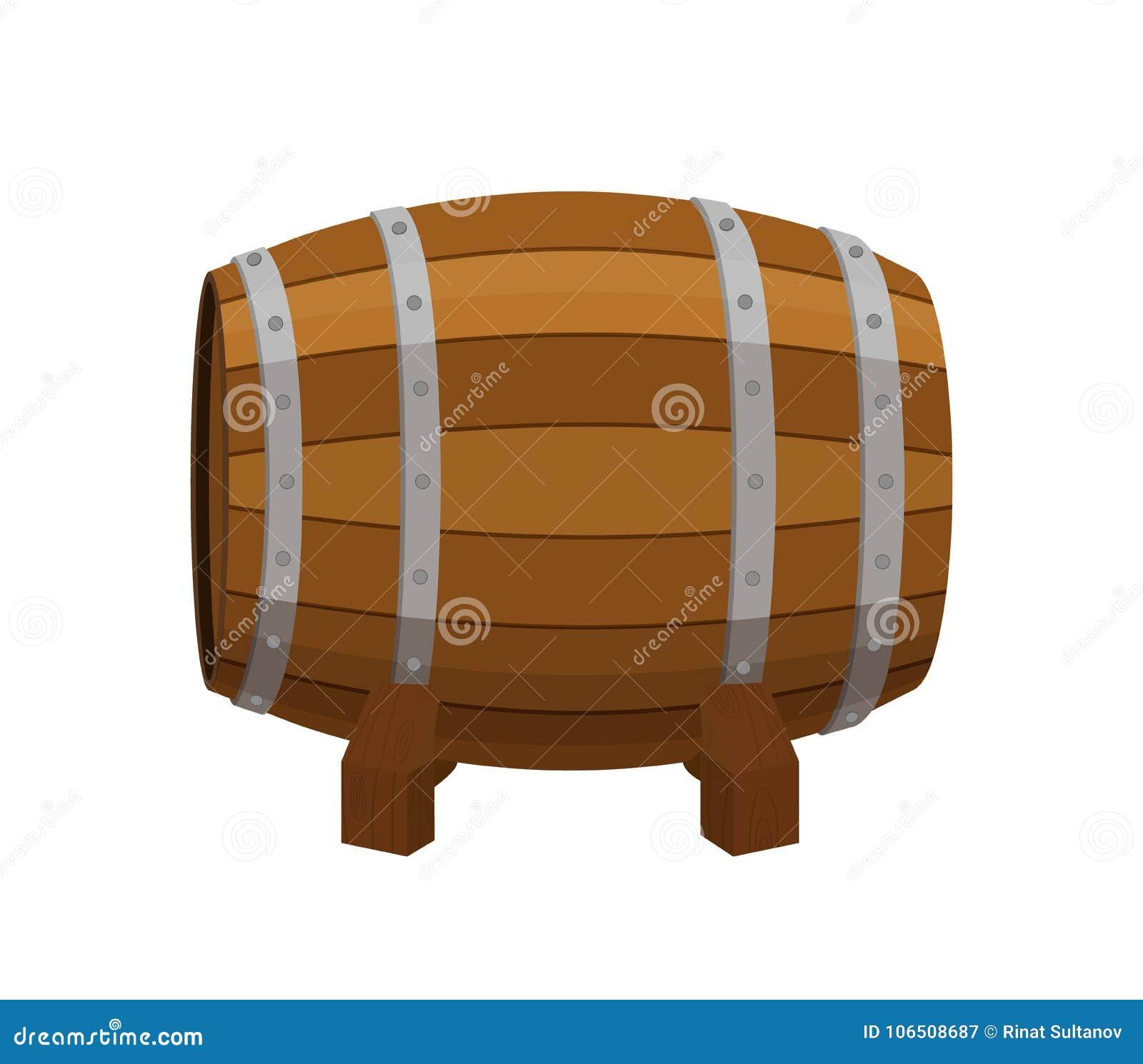 Tambor do álcool, recipiente de bebida, barril de madeira Estilo liso dos desenhos animados Vetor