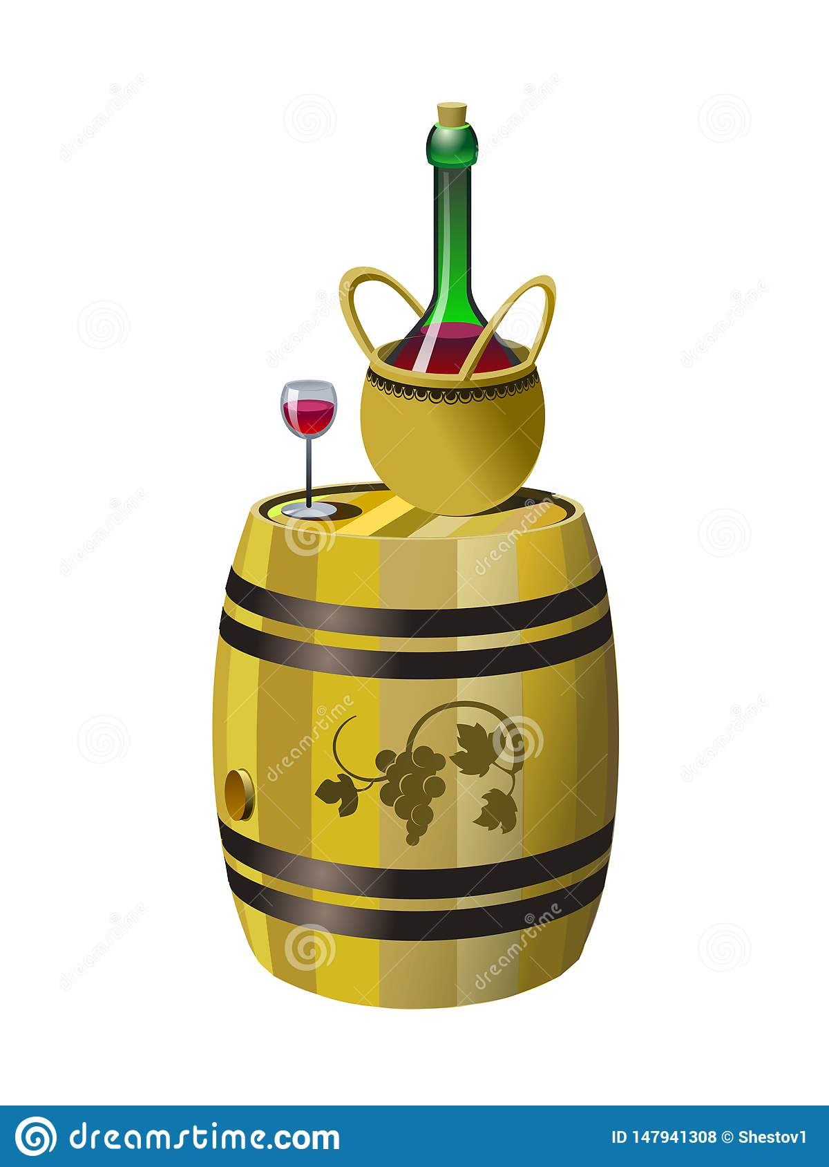 Tambor e garrafa do vinho tinto