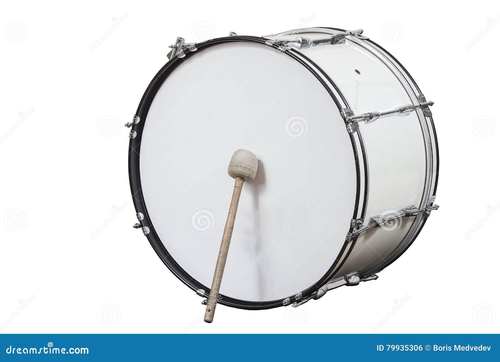 Tambor grande clásico del instrumento musical aislado en el fondo blanco