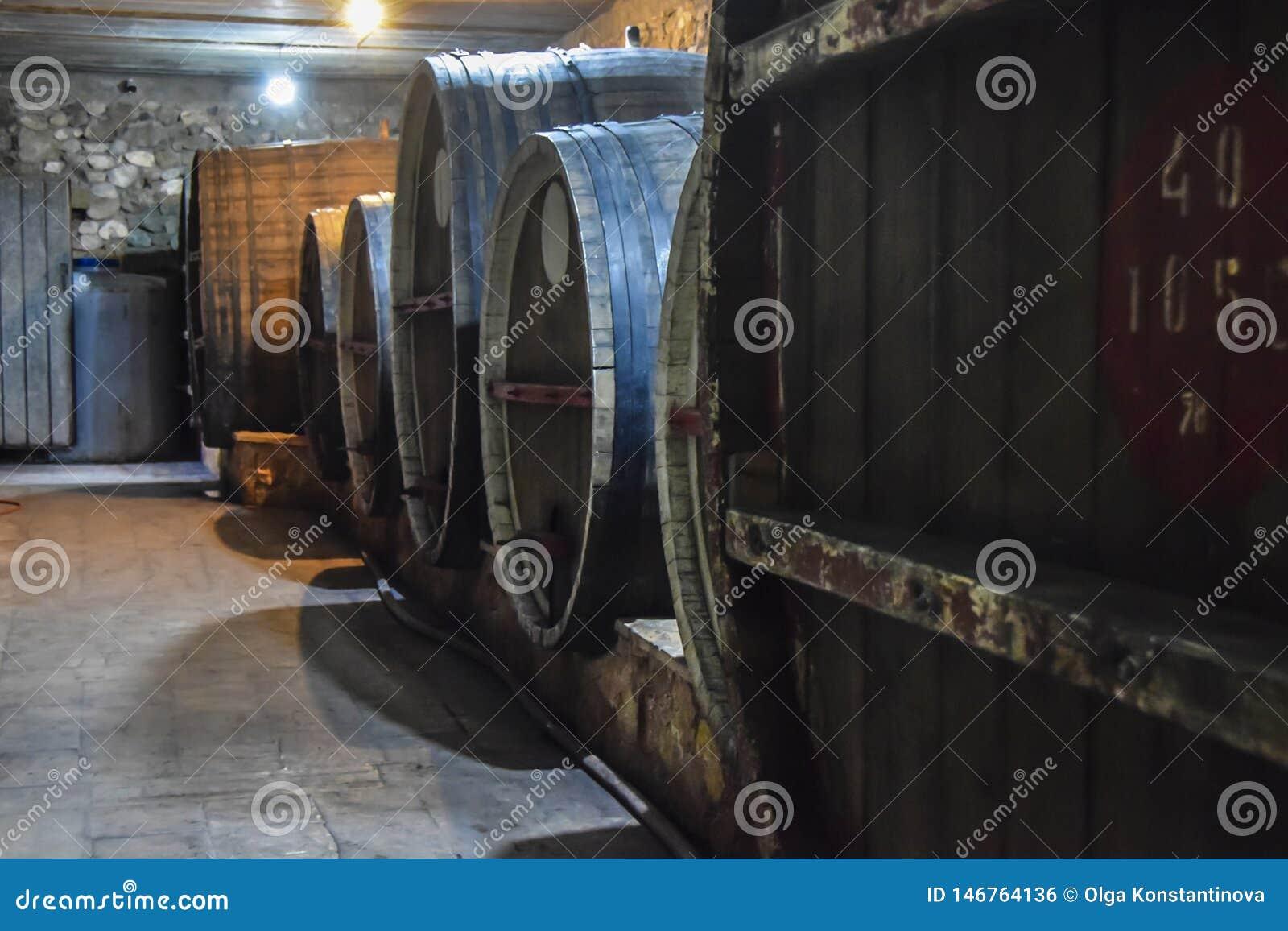 Tambores das garrafas de vidro de adega de vinho escuros e úmidos