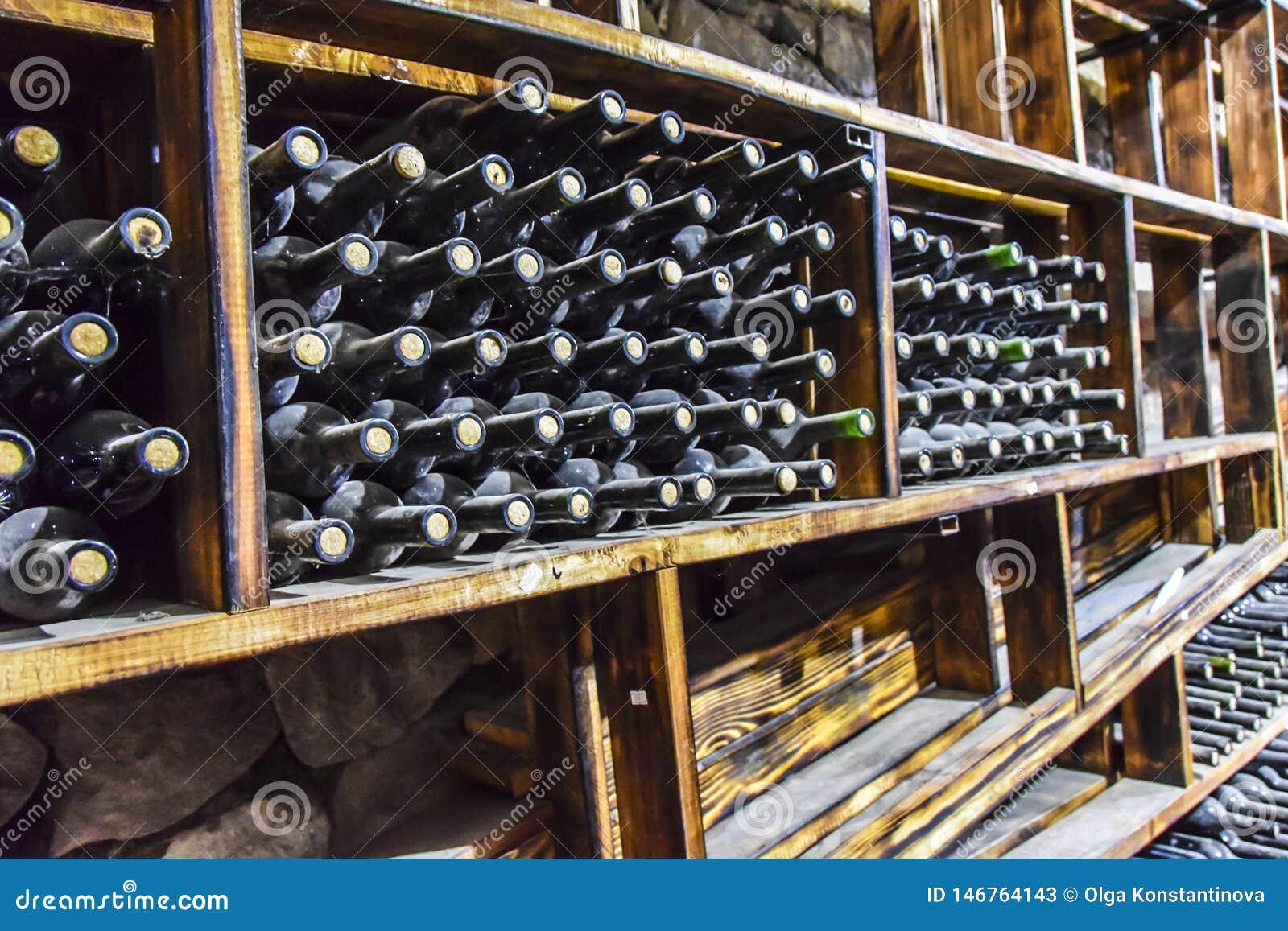 Tambores das garrafas de vidro de adega de vinho escuros e ?midos