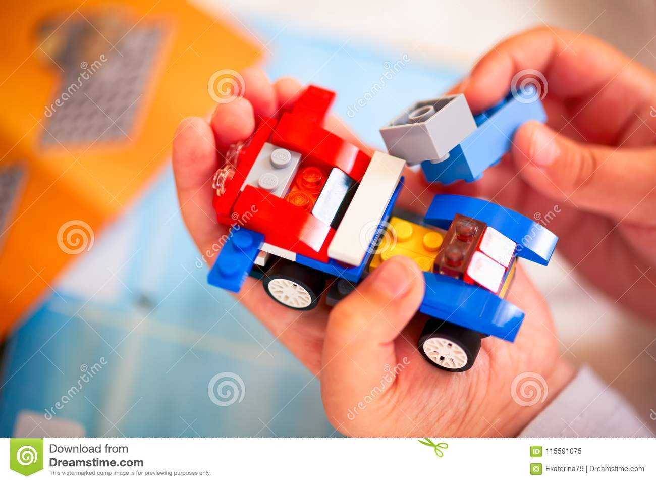Child Building Lego Car Editorial Image Image Of Building 115591075
