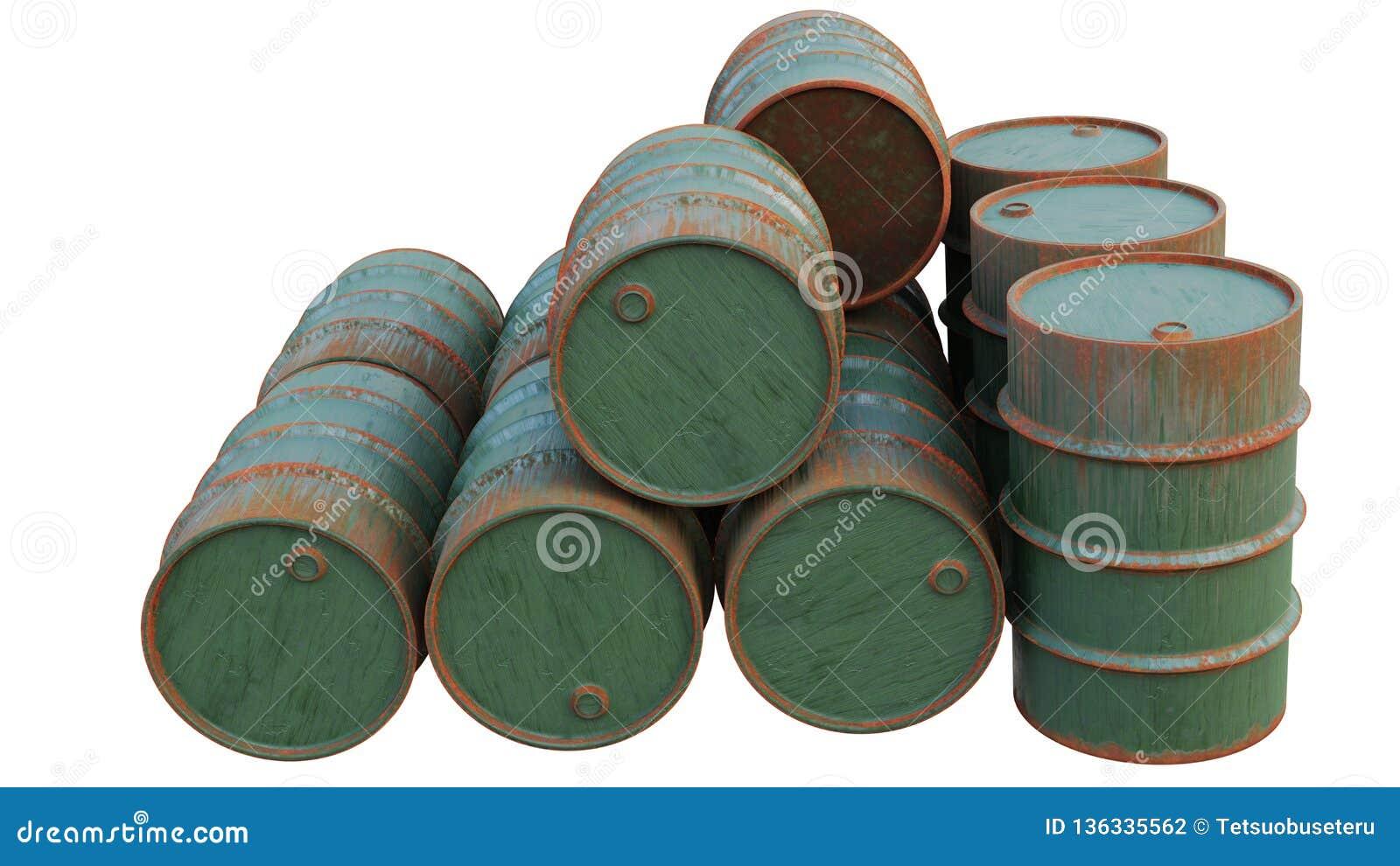 Tamburi dell olio vecchi ed arrugginiti Serbatoi metallici, i contenitori isolati su fondo bianco