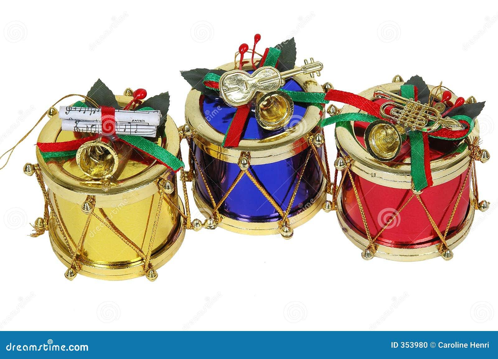 Tamburi rossi e blu dell oro, di natale