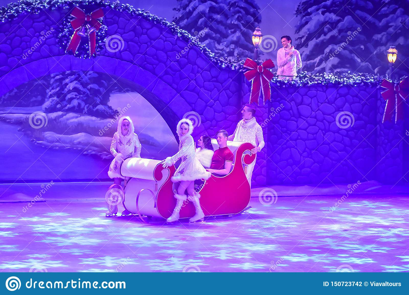 Christmas On Ice.Actors In Sleigh At Christmas On Ice Show At Busch Gardens