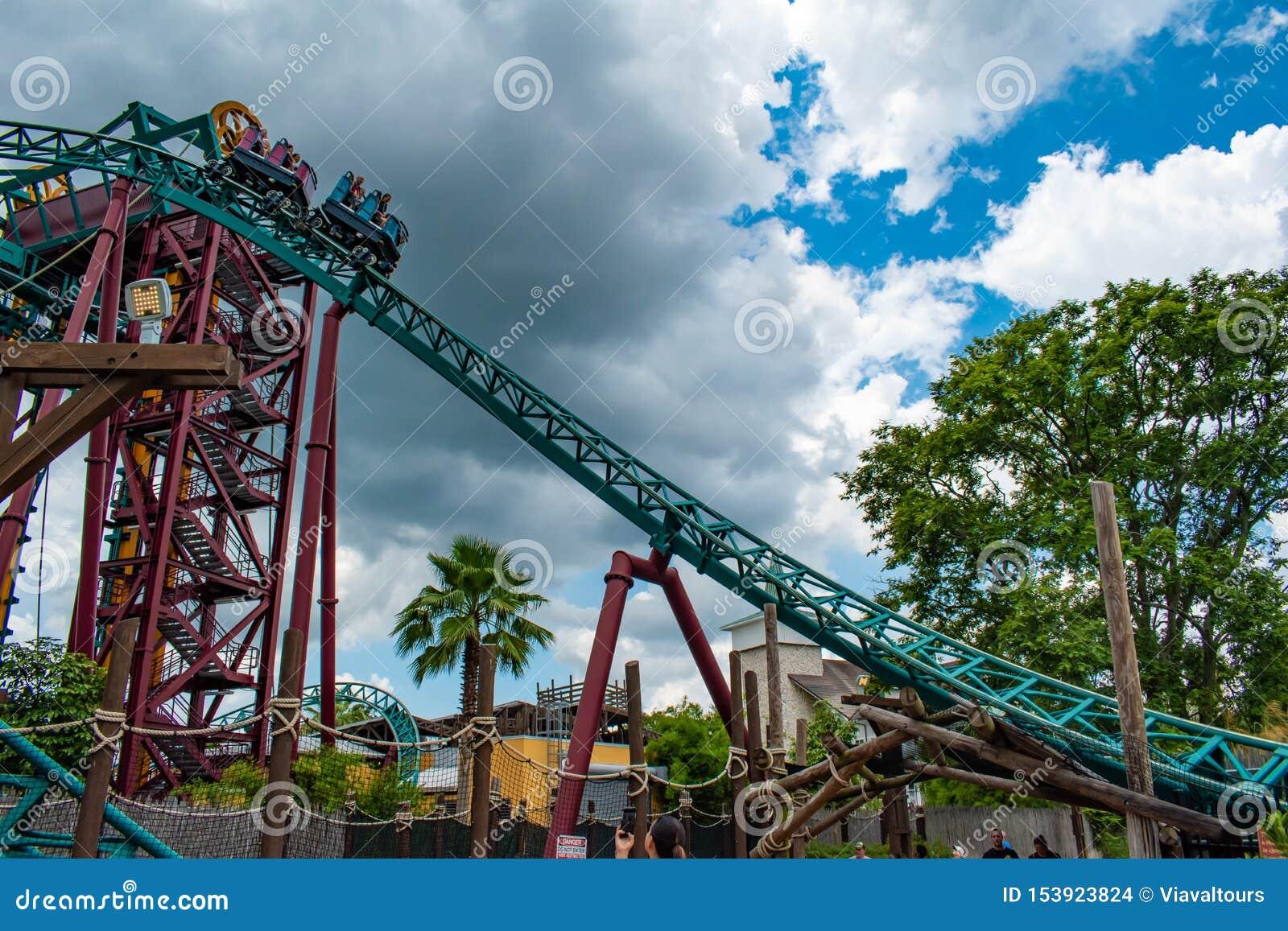 People Having Fun Terrific Cobras Curse Rollercoaster At Busch