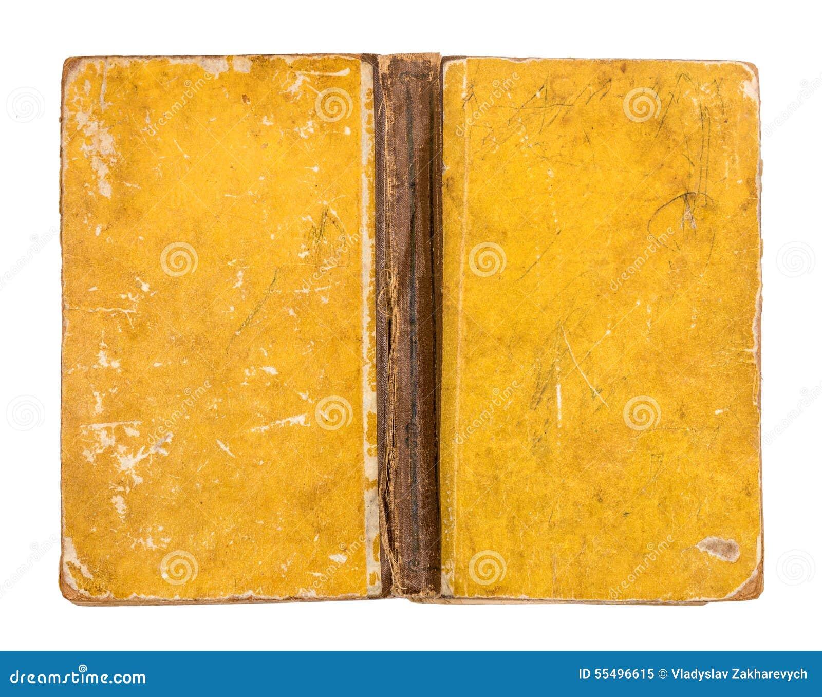 Tampa de livro amarelo suja do vintage