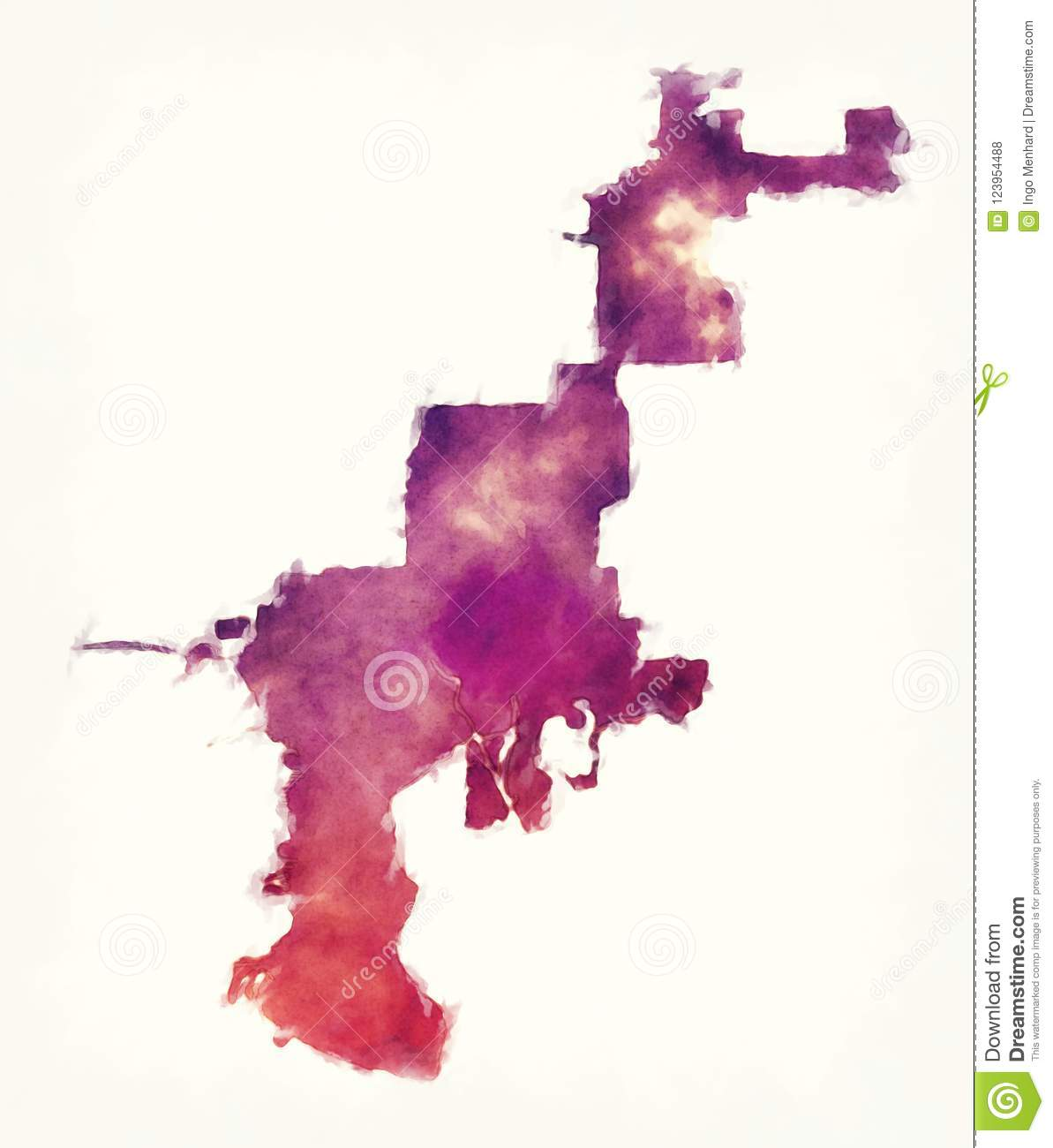 Tampa Florida City Watercolor Map In Front Of A White Background