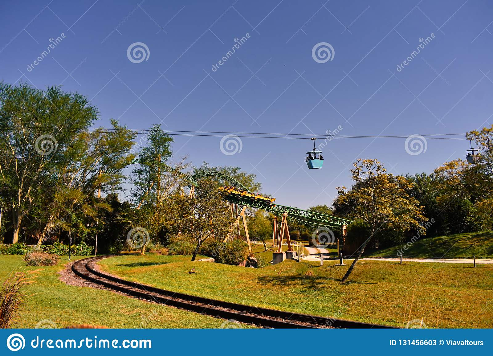 Tampa, Florida; September 29, 2018. Skyride attraction, rail and Cheetah Hunt Rollercoaster at