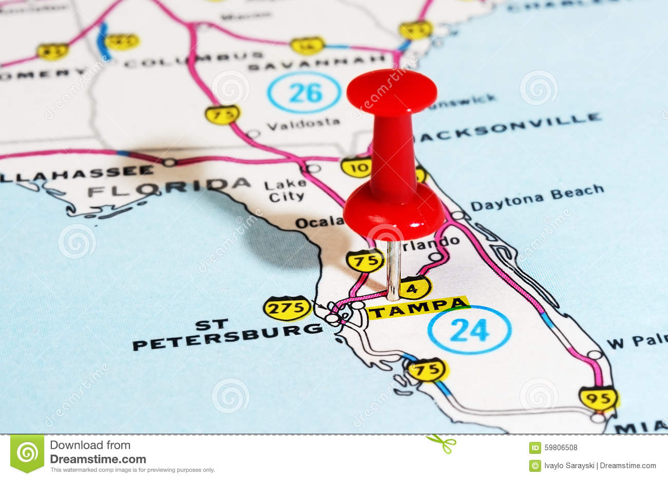 Tampa Florida USA Map Photo Image 59806508 – Travel Map Of Florida
