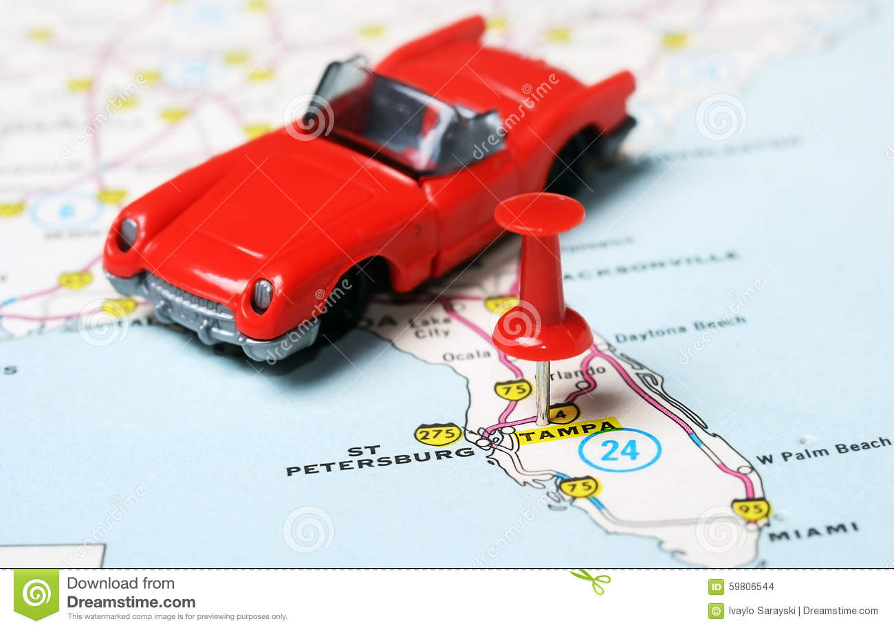 Tampa Florida Usa Map.Tampa Florida Usa Map Red Car Stock Photo Image Of Place Point