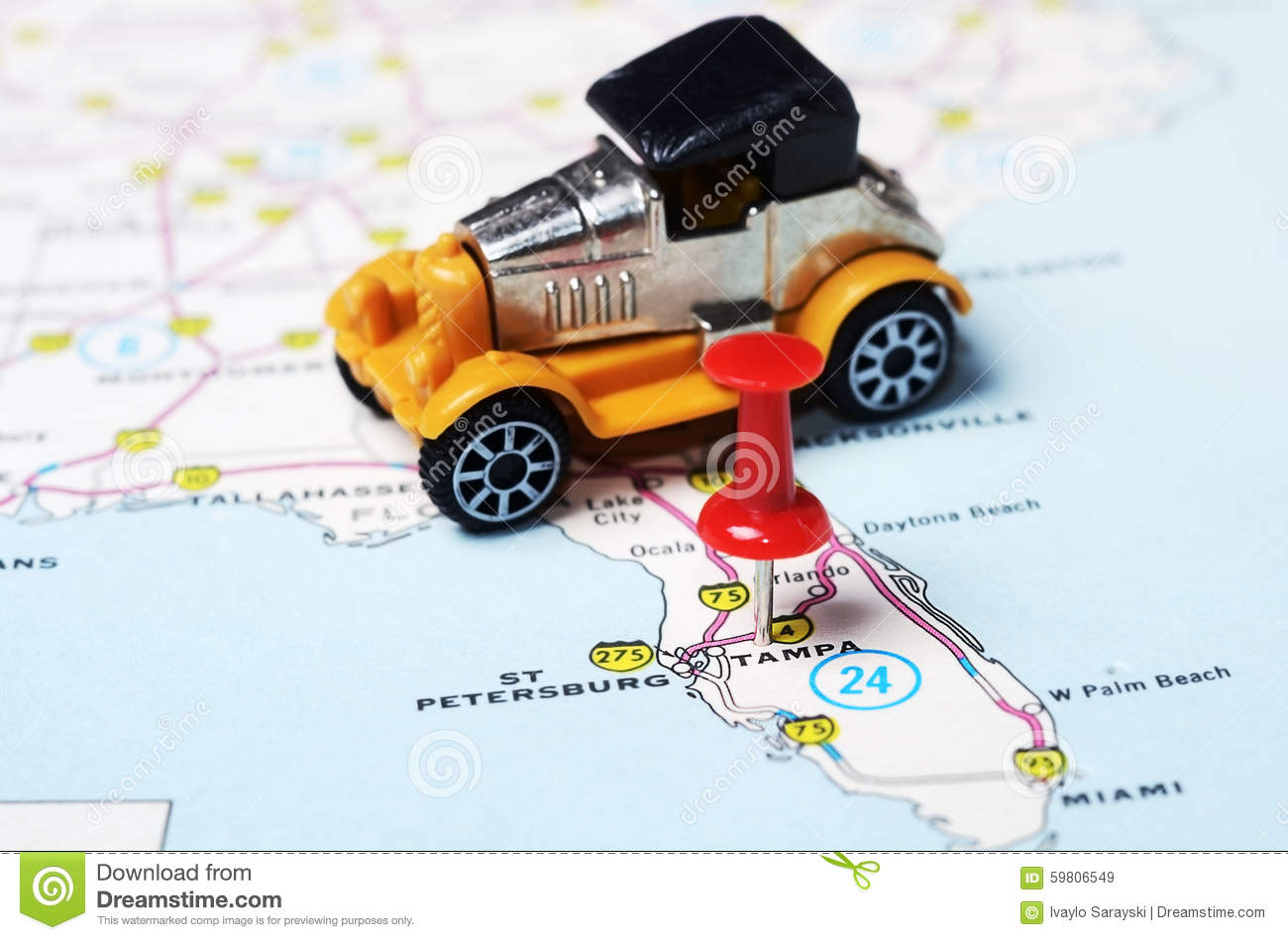 Tampa Florida Usa Map.Tampa Florida Usa Map Retro Car Stock Image Image Of Tampa Point
