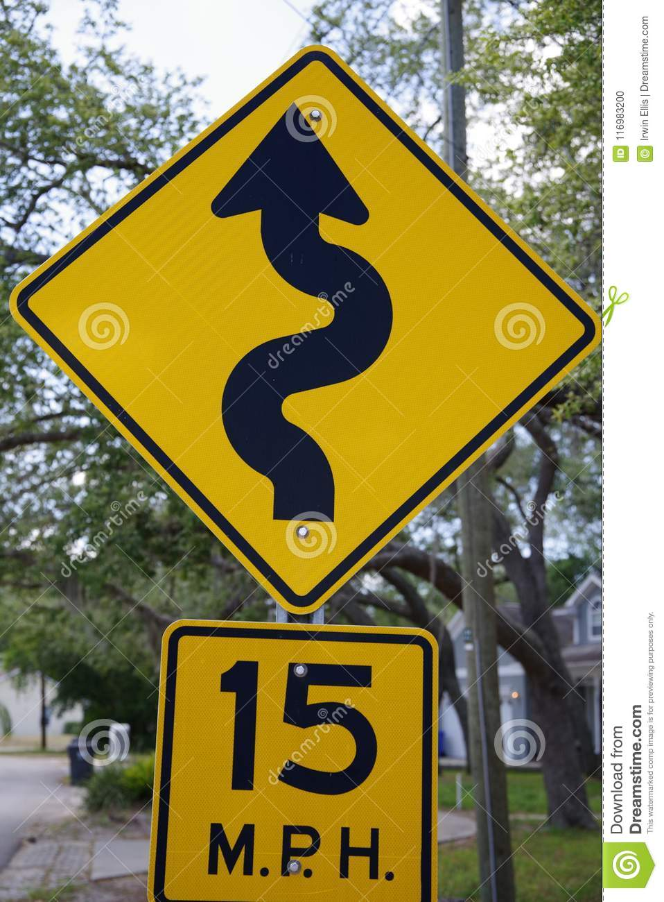 15 Miles Per Hour Squiggly Street Sign Editorial Image Image Of