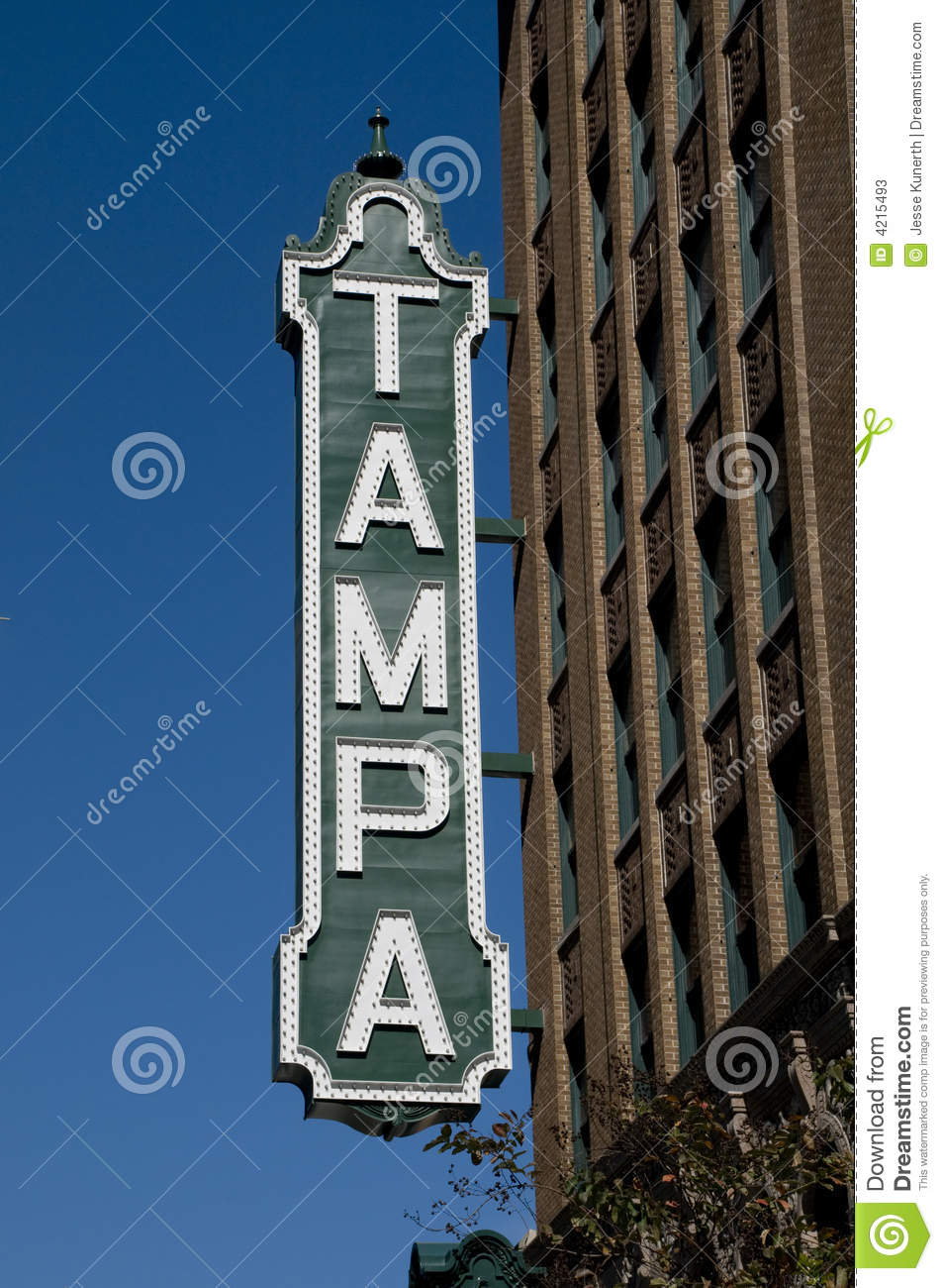 Tampa Sign stock image  Image of daylight, letters, trees - 4215493