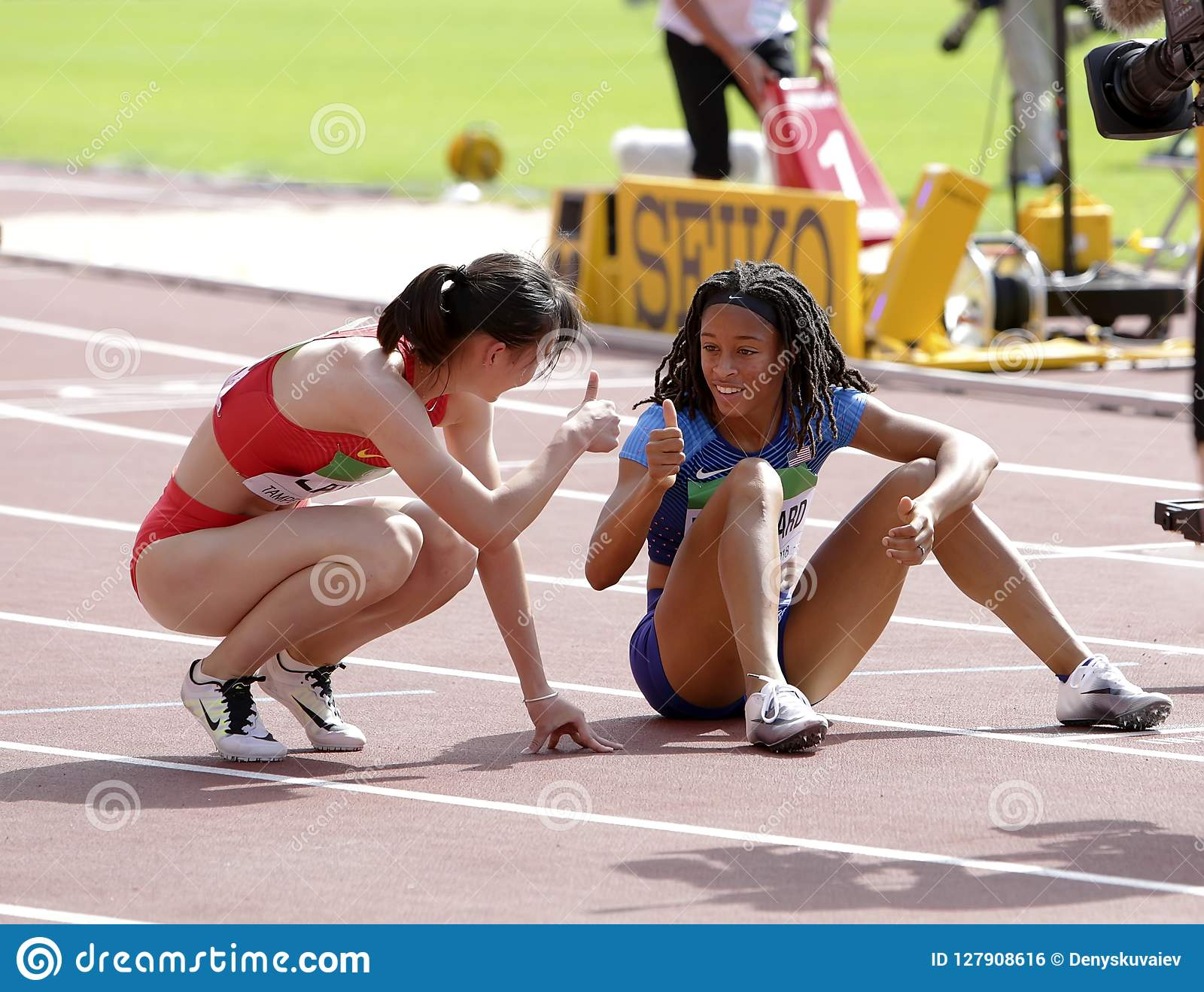 Jurnee Woodward and Tianlu Lan after 400 metres hurdles in the IAAF World U20 Championship in Tampere, Finland 11 July, 2018.