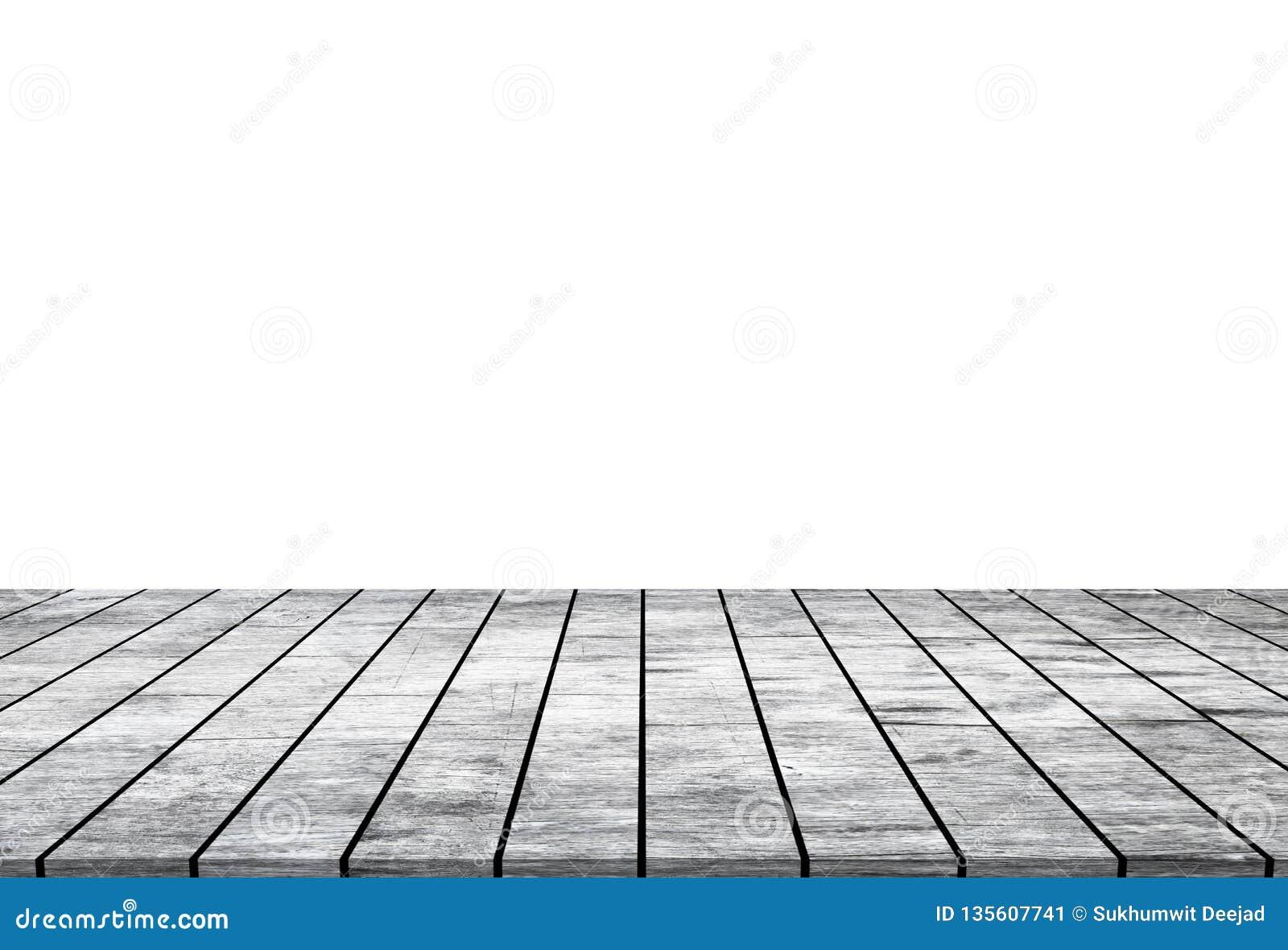 Tampo da mesa de madeira vazio isolado no fundo branco