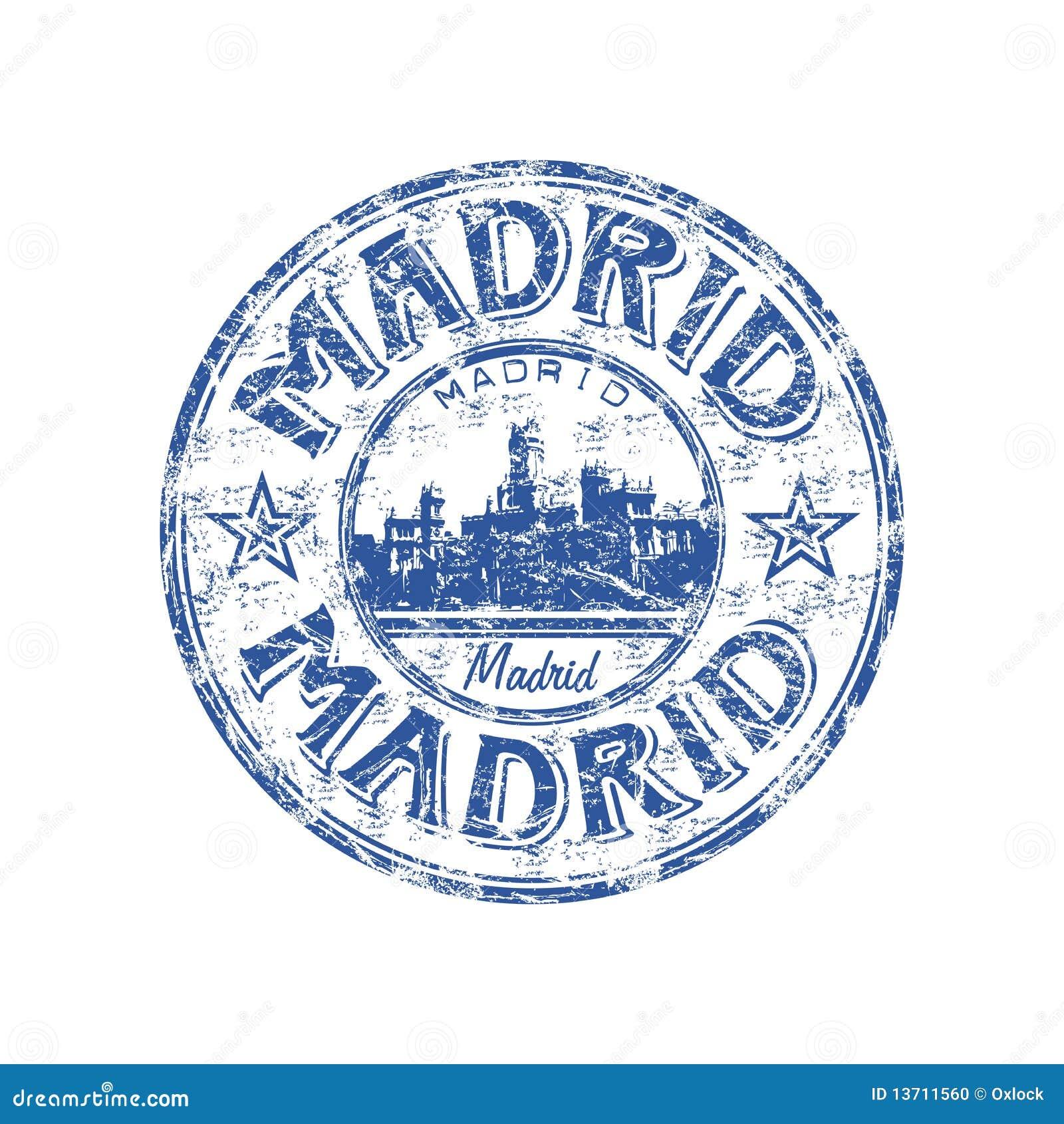 Tampon en caoutchouc de grunge de Madrid