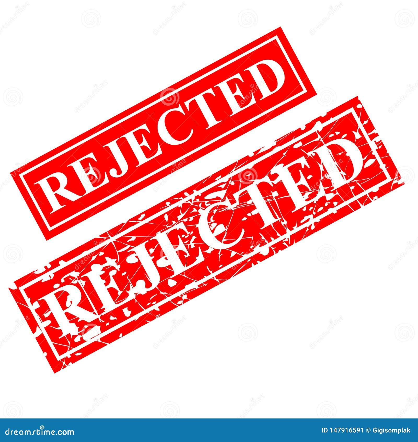 Tampon en caoutchouc rejet? et rouge, offre de proposition de document connexe, d isolement sur le blanc