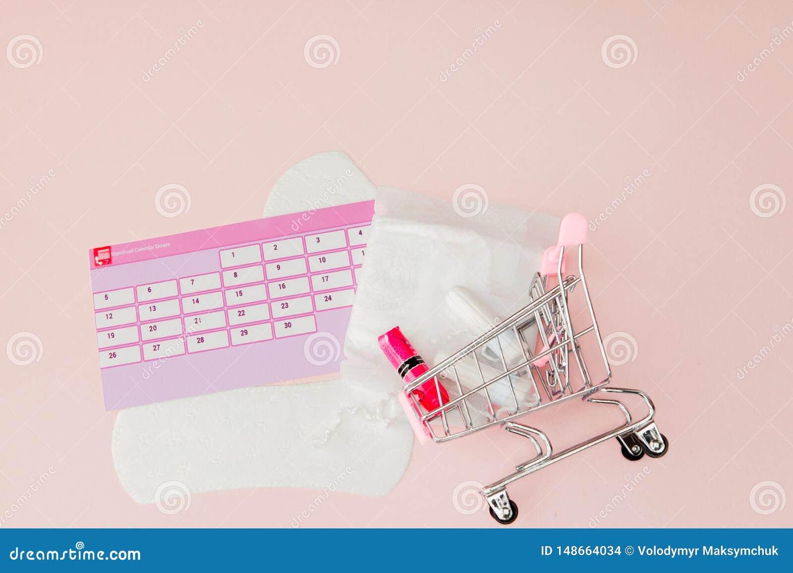 Tampon, weibliche, gesundheitliche Auflagen f?r kritische Tage, weiblicher Kalender, Schmerzpillen w?hrend der Menstruation auf e