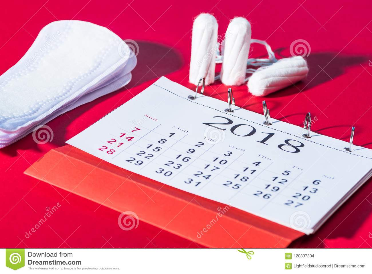tampons, daily pads and calendar