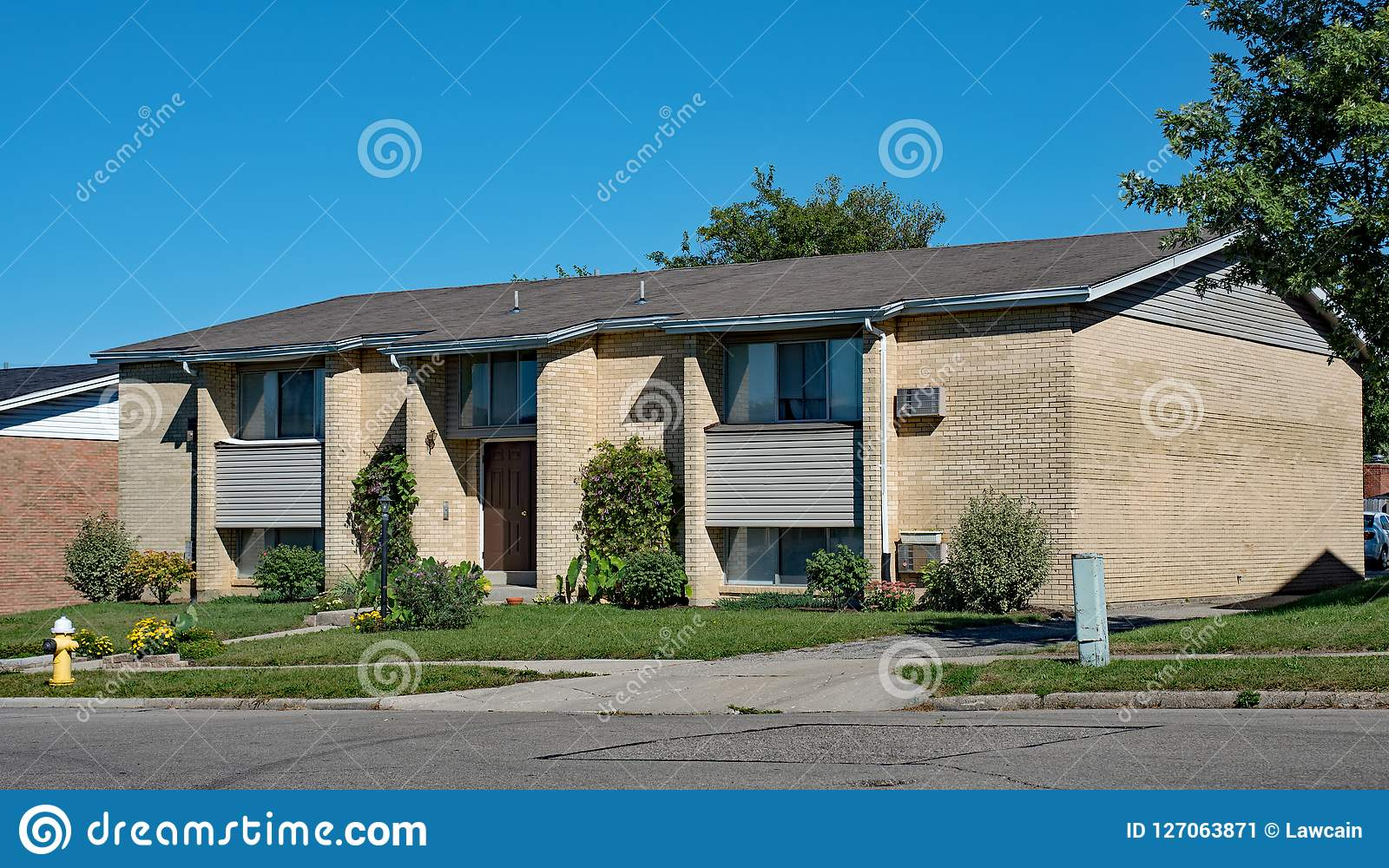 Tan Brick Low Income Housing Apartments Stock Image - Image