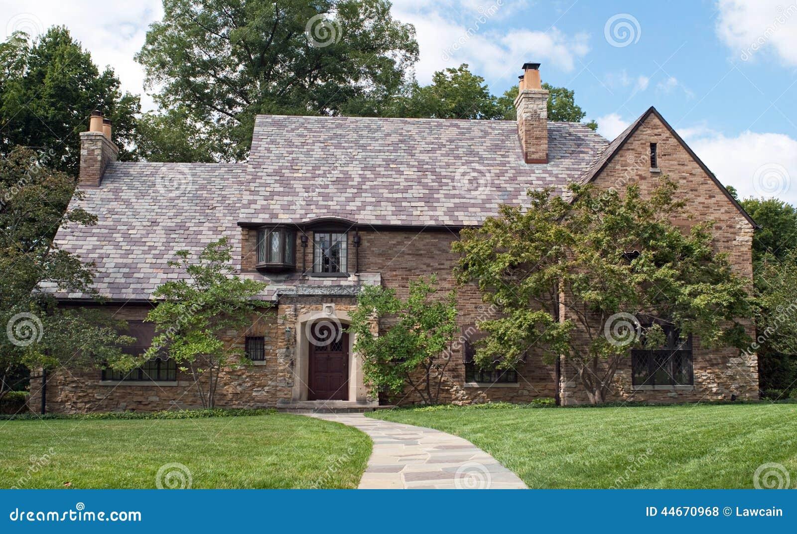 Tan Brick Amp Stone House Stock Photo Image Of Building