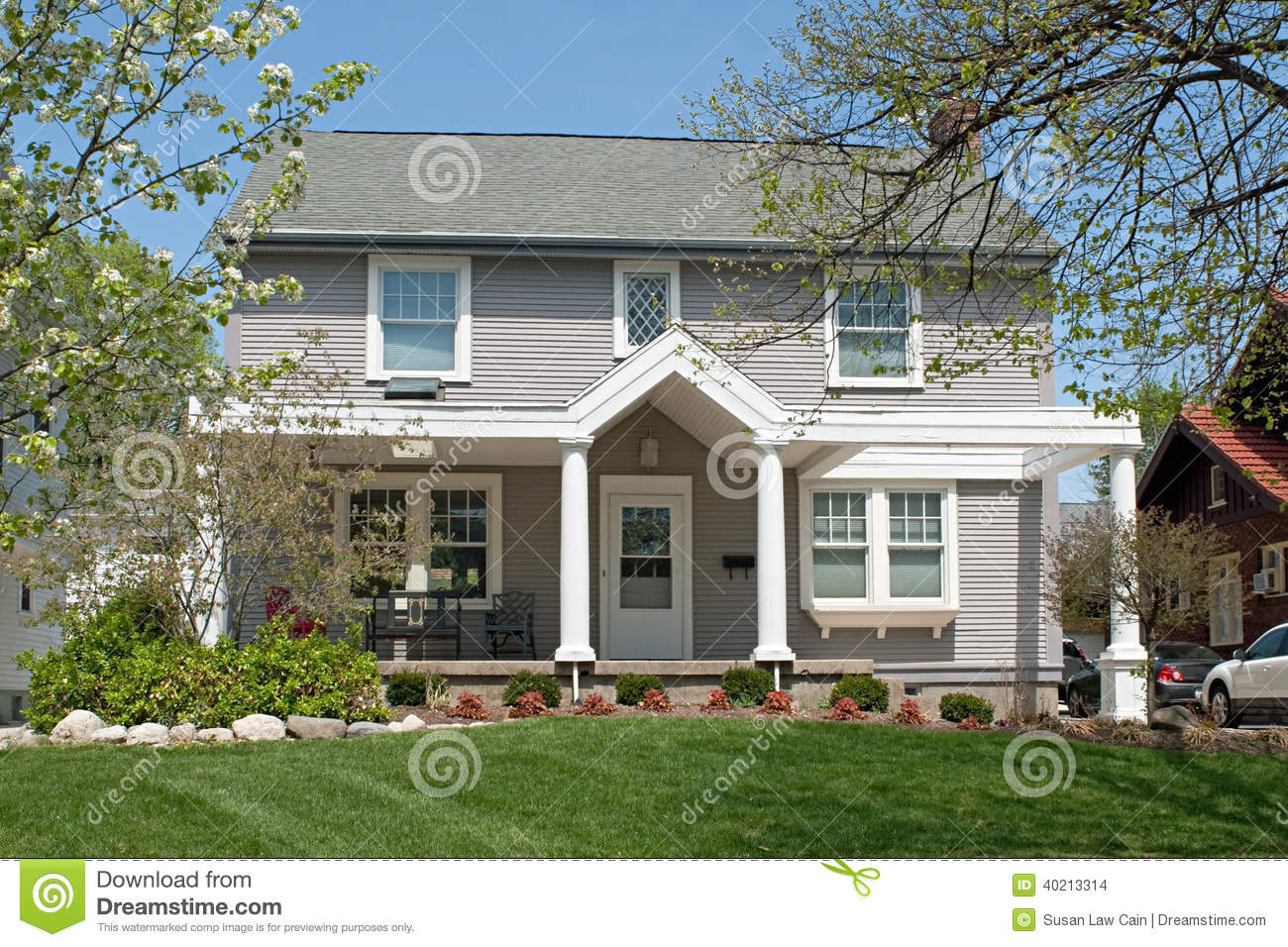 Tan Colonial House In Spring Stock Photo Image 40213314